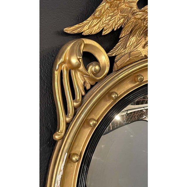 Federal Style Gilt Gold Convex Mirror, Wall, Console or Pier Mirror For Sale - Image 4 of 10