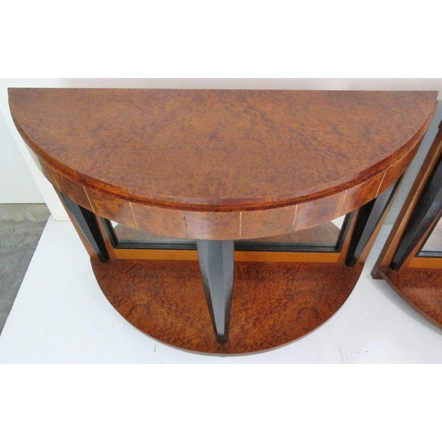 Mid-Century Modern Pair of Mid Century Modern Style Burl Walnut and Ebonized Mirrored Consoles For Sale - Image 3 of 9