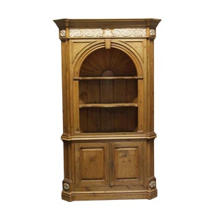 Knotty Pine Alcove Cabinet With Carved Details For Sale