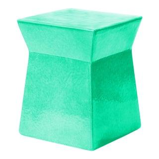 Ashlar Handmade Glazed Ceramic Outdoor Accent Stool, Turquoise For Sale