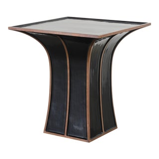 Fang Gu Table - Black Lacquer W/ Copper by Robert Kuo, Hand Repousse, Limited Edition For Sale