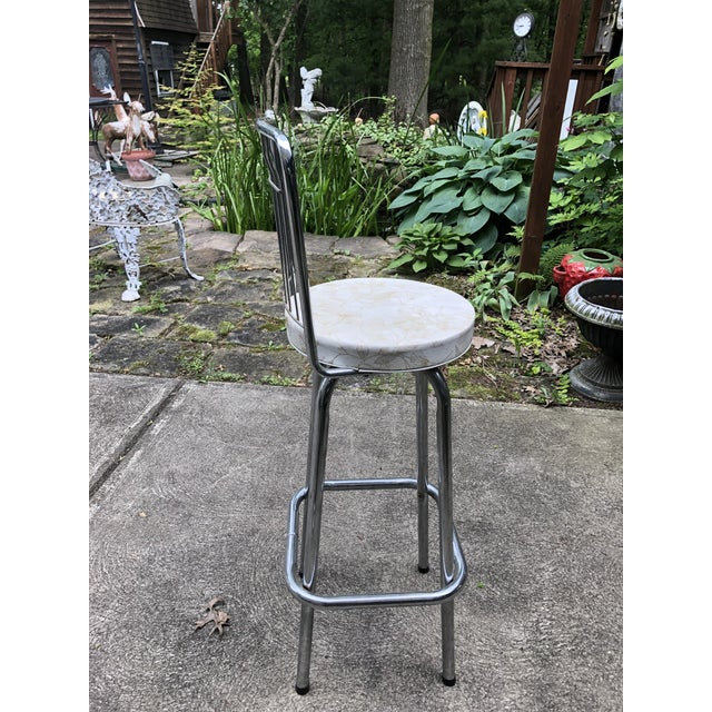Mid Century Chrome Bar Stools- a Pair For Sale - Image 4 of 9
