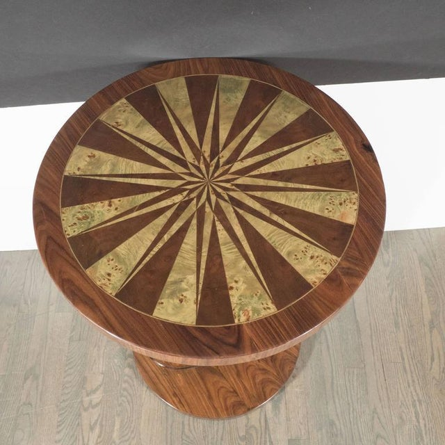 Wood Art Deco Inlaid Starburst Occasional Table in Walnut with Olive Wood Detailing For Sale - Image 7 of 10