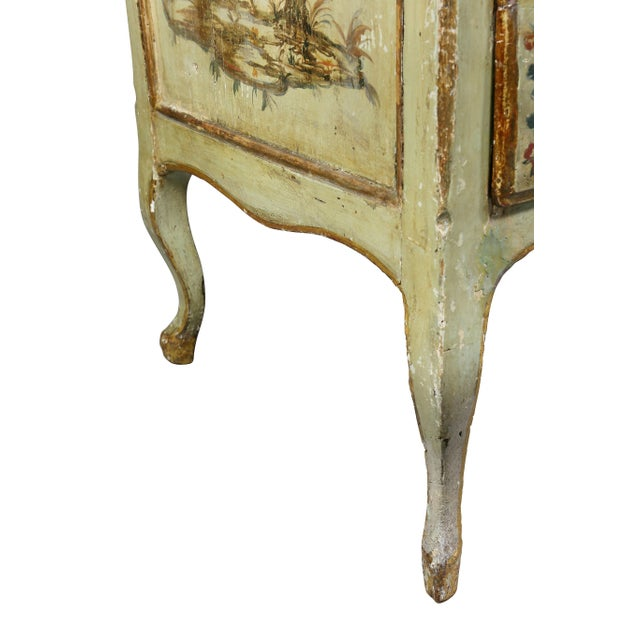 Metal Italian Rococo Lacca Povera Painted Commode For Sale - Image 7 of 11