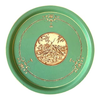 Vintage French Round Tole Tray With Birds For Sale