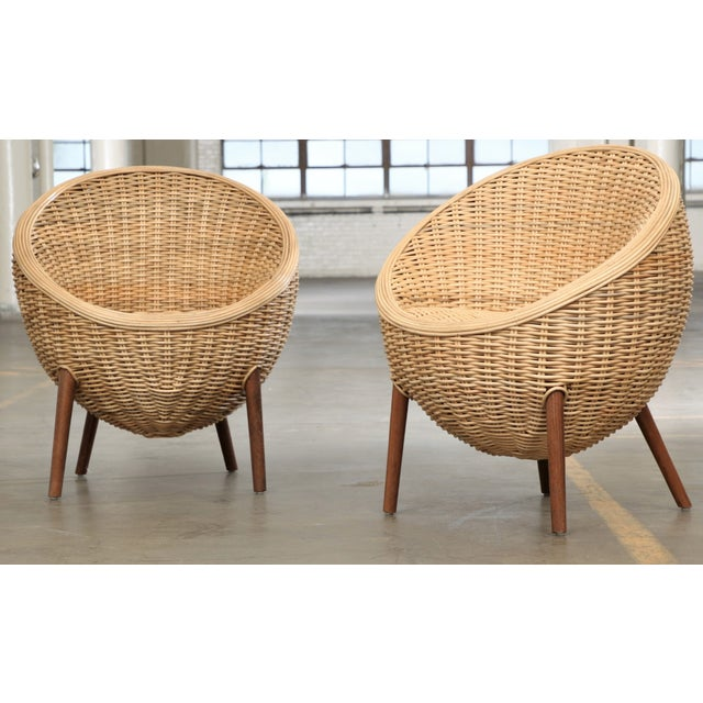 Rattan Barrel Tub Chairs Danish Modern Style With Wood Legs - Pair - Image 13 of 13