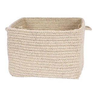 "Chunky Natural Wool Square Basket - Light Beige 18""x12"""