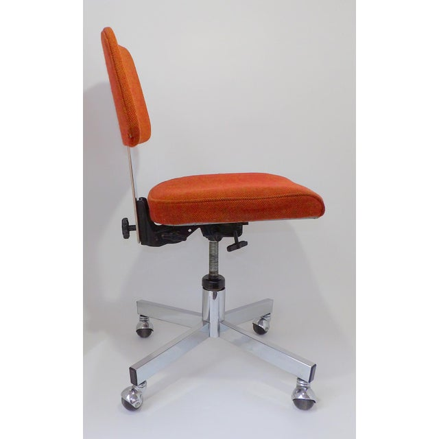 Great InterRoyal office chair. Perfect for your tanker desk. Original Orange Wool Fabric Seat and back. Some minor...