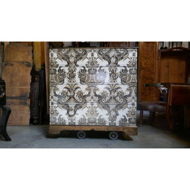 Wallpapered Antique Chest For Sale - Image 9 of 9