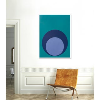 """Large """"Double Dot in Blues"""" Print by Stephanie Henderson, 36"""" X 50"""" Preview"""