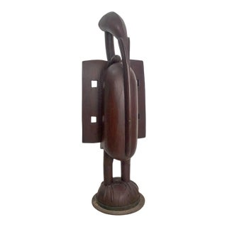 Large Senufo Carved Bird on Iron Stand, West Africa For Sale