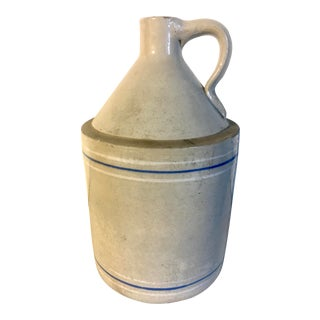 19th Century Antique Striped Stoneware Jug For Sale