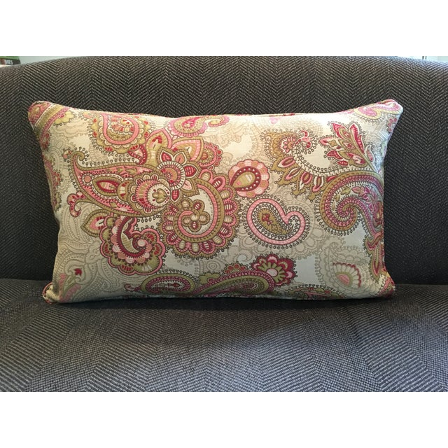 Contemporary Paisley Tapestry Lumbar Pillow For Sale - Image 3 of 4