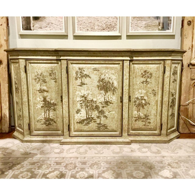 Elegant Drexel Heritage Flanders Console painted in a beautiful soft celery green with cream and gray tree detail after...