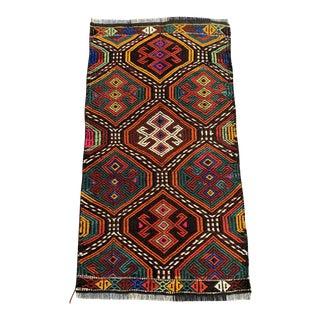 Ethnic Kelim Handicraft Colorful Village Rug- 1′10″ × 3′4″ For Sale