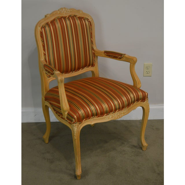 High Quality Italian Made French Style Solid Wood Armchair with Custom Striped Upholstery