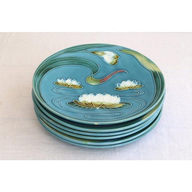 1930s Art Nouveau Majolica Plates - Set of 4 For Sale - Image 5 of 5