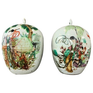 Pair of Large Chinese Famille Verte Porcelain Covered Vases, Late Qing Period For Sale