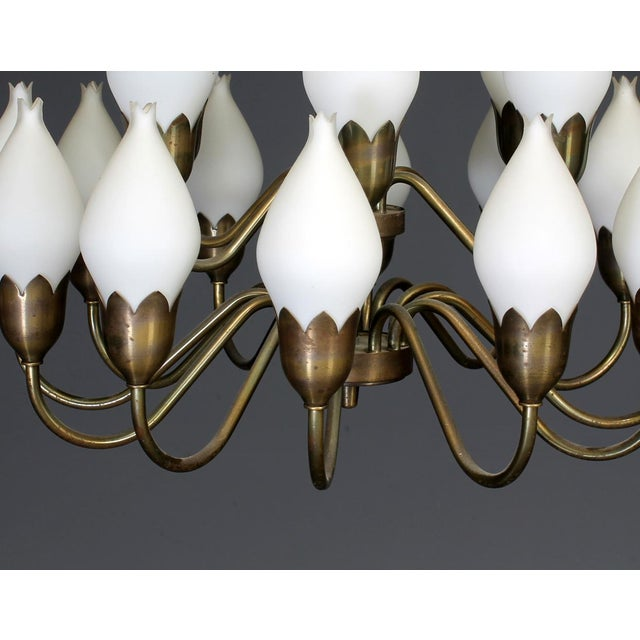 Large Chandelier with Glass Lampshades by Fog & Mørup, 1960s For Sale - Image 10 of 11