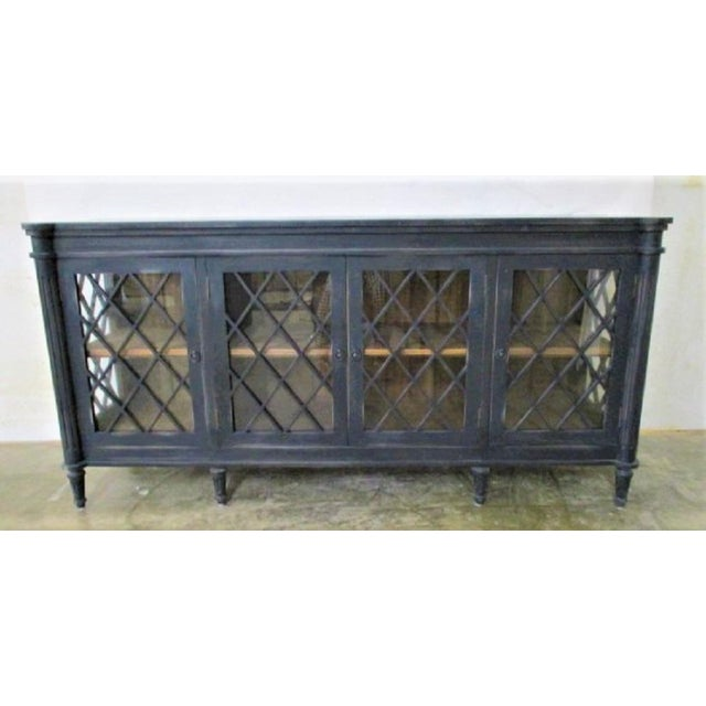 Boho Chic Distressed Black Console with Glass Doors For Sale In San Diego - Image 6 of 6