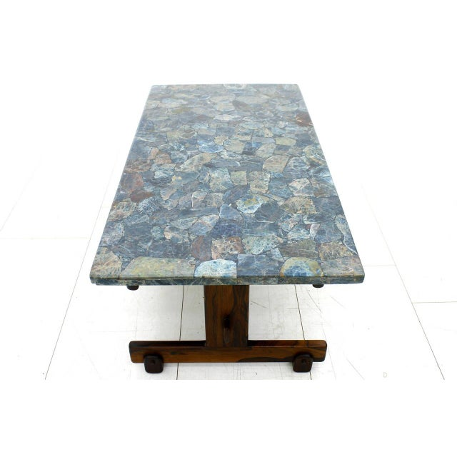 Mid-Century Modern Rare Sergio Rodrigues Coffee Table With Apatit Stone Mosaic Top, Brazil 1964 For Sale - Image 3 of 10