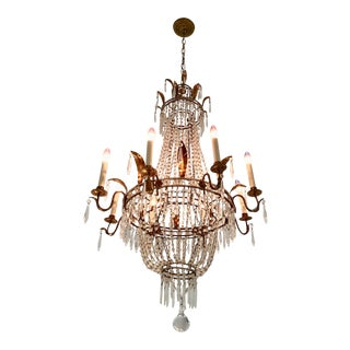 Antique French Gilded Crystal Chandelier For Sale