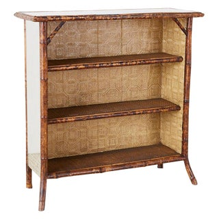 English Regency Mirrored Bamboo Bookcase of Shelf For Sale