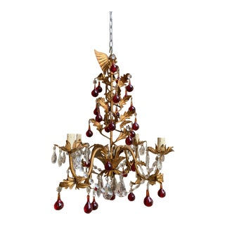 Antique French Crystal Prism Chandelier Murano Glass Red Drop Gold Gilt 4 Arm For Sale