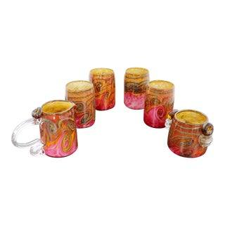 Contemporary Abstract Pattern Glass Cups Cream & Sugar Signed Dated 2000s - Set of 6 For Sale