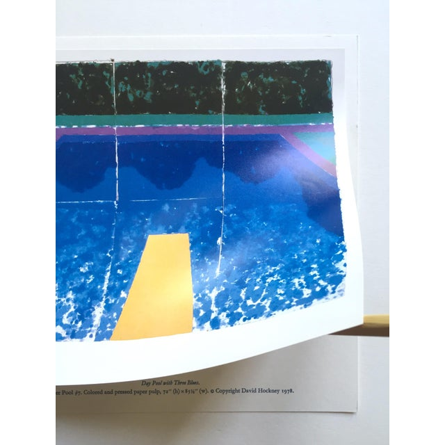 """Royal Blue David Hockney Vintage 1978 Rare Tyler Graphics Iconic Lithograph Print """" Day Pool With Three Blues ( Paper Pool #7 ) """" For Sale - Image 8 of 13"""