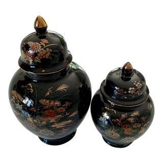 Vintage Japanese Black and Gold Hand-Painted Porcelain Ginger Jar With Lid - Set of 2 For Sale
