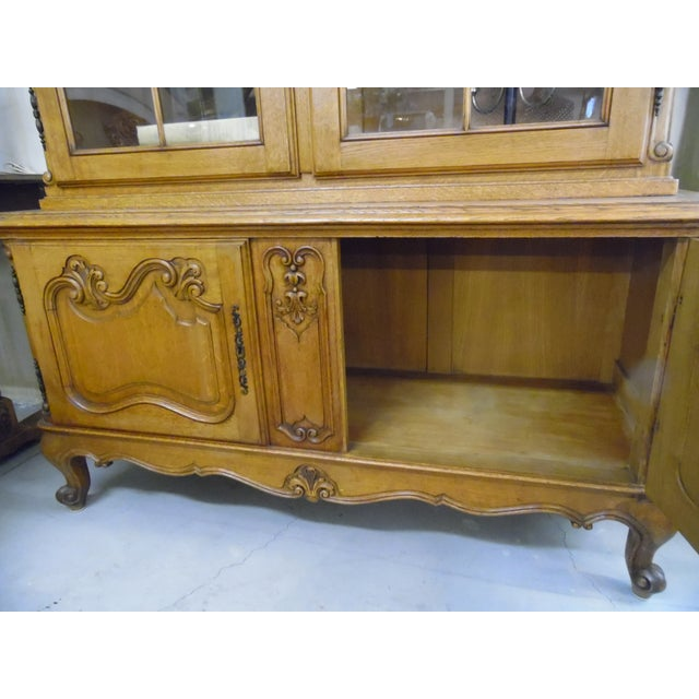 1940s French Solid Oak 2 Piece China Cabinet For Sale - Image 5 of 7