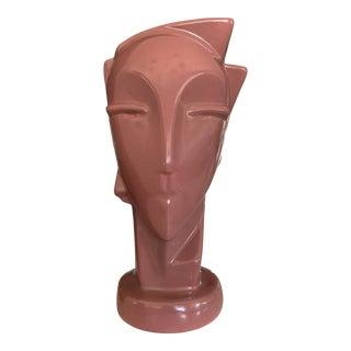 Vintage 1980's Royal Haeger Face Vase in Mauve For Sale