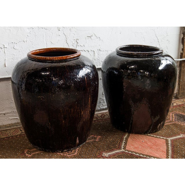 1960s Near Pair of Vintage Chinese Glazed Black Ceramic Pots - Sold as a Pair For Sale In Greenville, SC - Image 6 of 6
