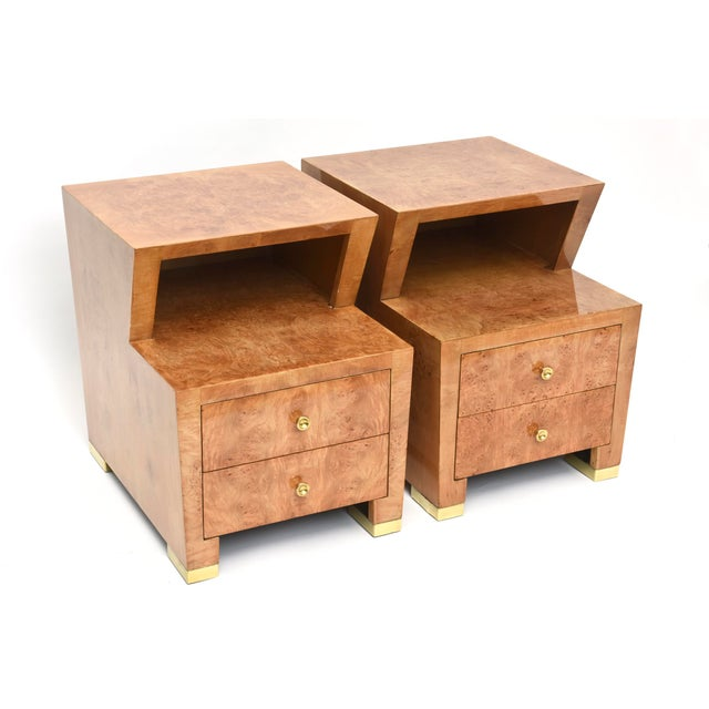 Pair of Sir Edmund Spence Burled Maple Two-Drawer Night or End Tables For Sale - Image 9 of 10