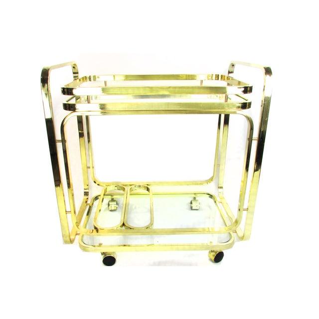 Milo Baughman Brass Bar Cart - Image 3 of 7