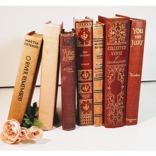 Vintage Rusty Wine Colored Book Stack Preview