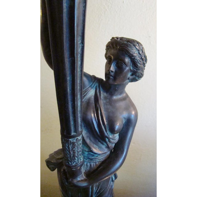 Art Deco Bronze Figural Candle Holders - A Pair - Image 6 of 11