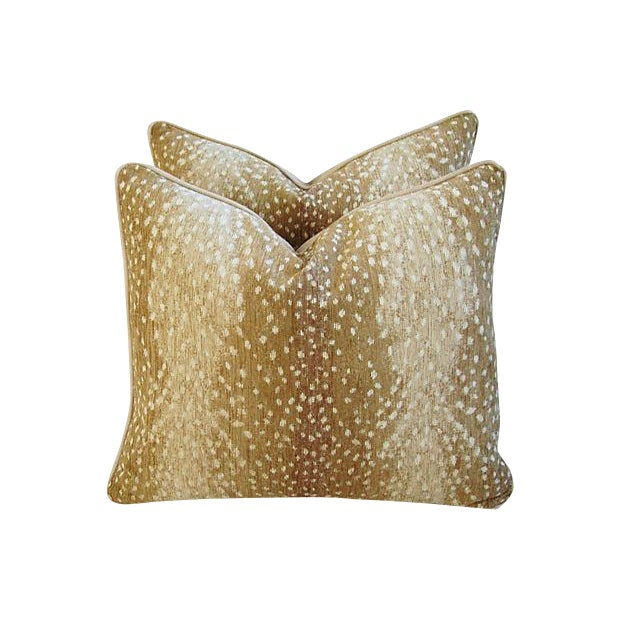 Custom Tailored Antelope Fawn Spot Velvet Feather/Down Pillows- Pair - Image 1 of 10