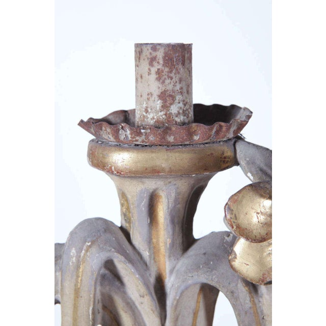 18th Century Italian Carved Painted & Gilt Three-Arm Candelabra For Sale - Image 9 of 10