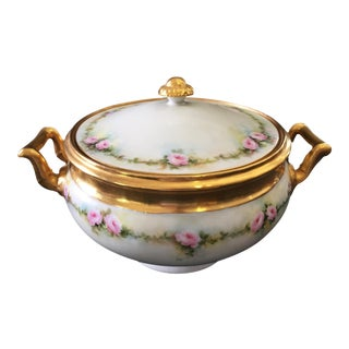 French Hand Painted Limoges Tureen For Sale