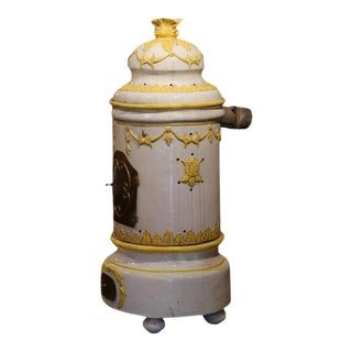 19th Century French White and Yellow Terracotta and Brass Stove For Sale