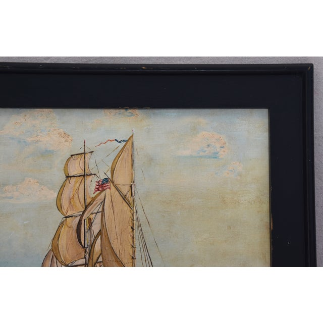 Framed 1940s Sailing Ship Oil Painting - Image 7 of 11