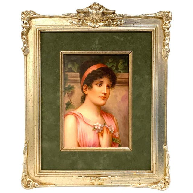 Fine German Painting on Porcelain of a Garden Muse For Sale - Image 13 of 13