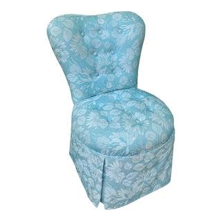 Vintage Upholstered Vanity Stool For Sale