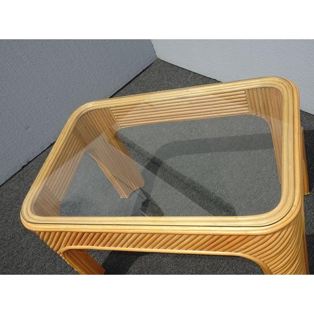Vintage Mid Century Modern Split Bamboo Rattan Coffee End Table For Sale - Image 9 of 11