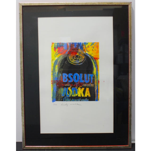 Blue Vintage Andy Warhol Lithograph Absolut Vodka For Sale - Image 8 of 8