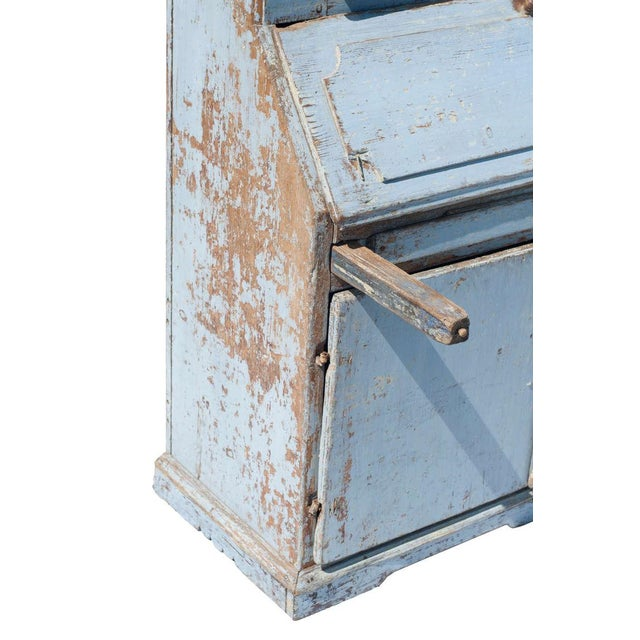 Wood Blue Painted Swedish Secretaire For Sale - Image 7 of 9