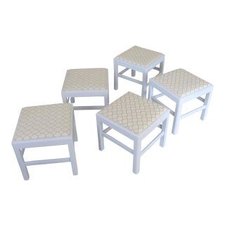 Mid Century Painted and Upholstered Wooden Stools - Set of Five