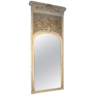 Antique, French Parcel Paint Trumeau Mirror For Sale